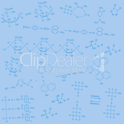 chemische Strukturformeln in blau auf blauem Hintergrund