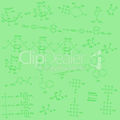 Textur chemischer Strukturformeln in dunkelgrün auf hellgrünem Hintergrund