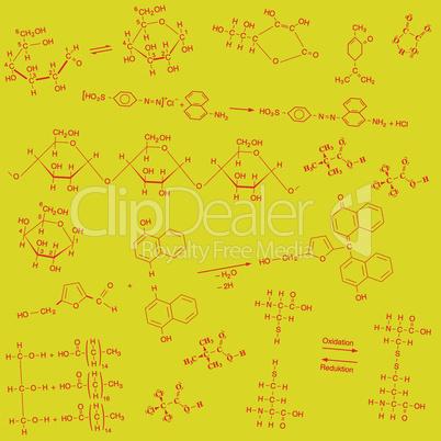 Textur chemischer Strukturformeln in rot auf gelbem Hintergrund