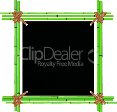 Bamboo asian frame with tropic old paper. Copy space menu vector illustration isolated on white background