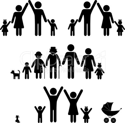 People silhouette family icon