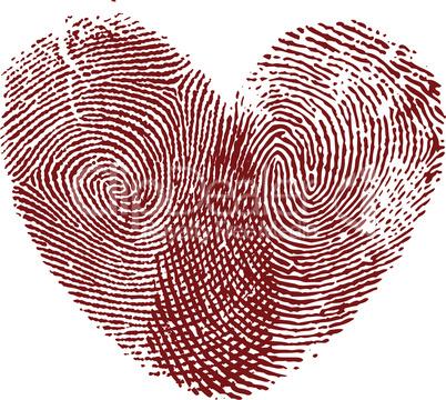 Vector heart, fingerprint