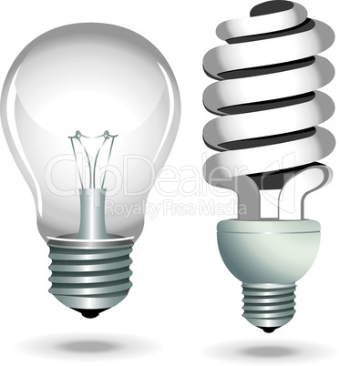 Icon set energy saving light bulb lamp