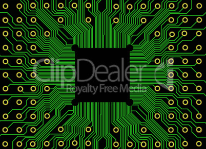 Electronic circuit board vector with chip