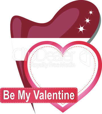 Heart shape with text Be my Valentine. Vector