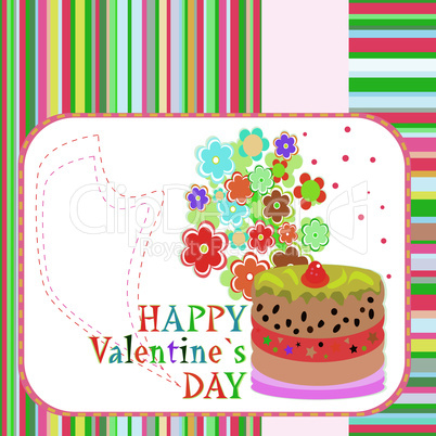 Delicious Love Cupcake with flowers and valentines greetings. vector