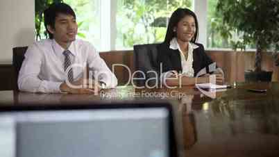 Young people during job interview in office
