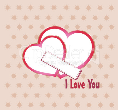 Two heart I Love you composition. Saint Valentines day greeting card