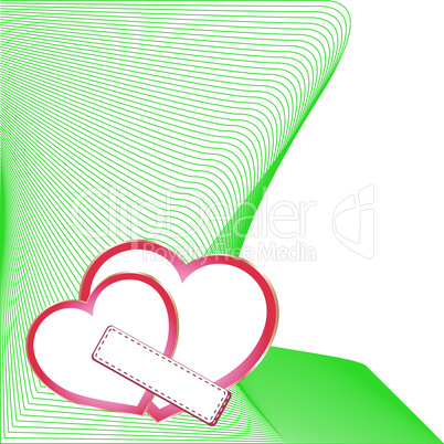 wedding vector card with two hearts, scrap-booking element