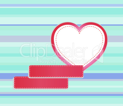 Vector background made of red heart and empty stickers for text