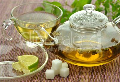 set of green tea