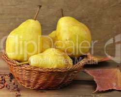 Yellow Pears In A Basket