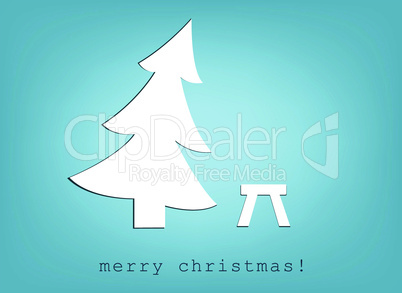 christmas tree and stool. simple vector.