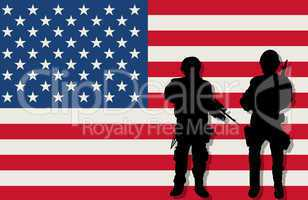 Armed soldiers and flag