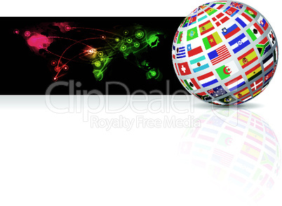 Globe from flag on world map background. Vector illustration
