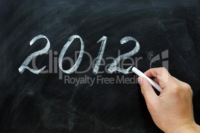 Blackboard / chalkboard with a handwriting of 2012