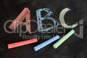 ABC written in colorful chalk
