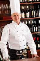 Chef cook wine bar standing confident restaurant