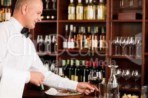 Wine bar waiter mature serve glass restaurant