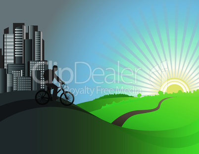 The cyclist leaves the city. Vector illustration
