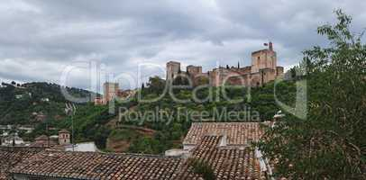 Alhambra palace in cloudy day, Granada, Spain