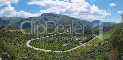 Green mountains in Andalusia