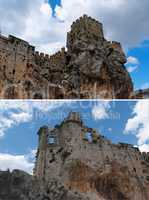 Ruins of a medieval castle on the rock in Zuheros, Spain