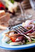 französischer Salat niçoise auf einem Teller