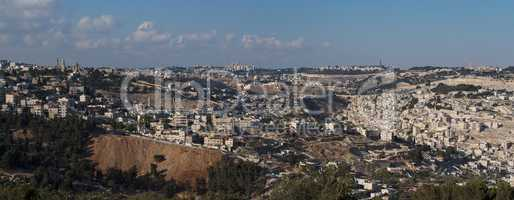 Panorama of Jerusalem with Temple Mount in the evening