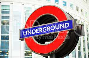 London's Underground sign.