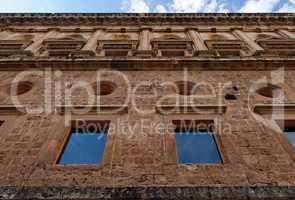Wall of Palace of Carlos V in Granada, spain
