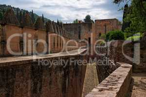 Medieval fortifications in Alhambra palace in Granada, Spain