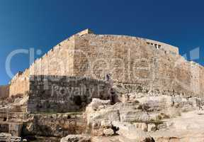 Distorted view of the corner of Jerusalem Old City wall near the Dung gate