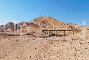 Bridge in the desert near the Large Crater (Makhtesh Gadol) in Israel's Negev desert