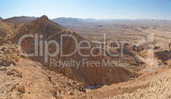 View of the desert canyon Makhtesh Gadol (the Large Crater) in Israel