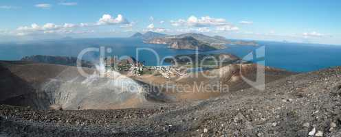 Eolian islands seen drom the Grand crater of Vulcano island near Sicily, Italy