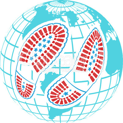 illustration of pair of foot prints around globe on abstract background. World of shoes concept vector illustration
