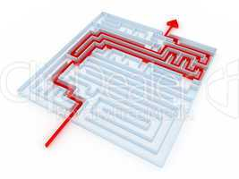 labyrinth of transparent blocks through which the red arrow. 3d