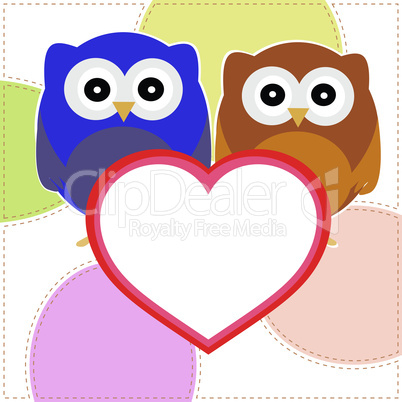 Background with couple of owls with valentines love heart