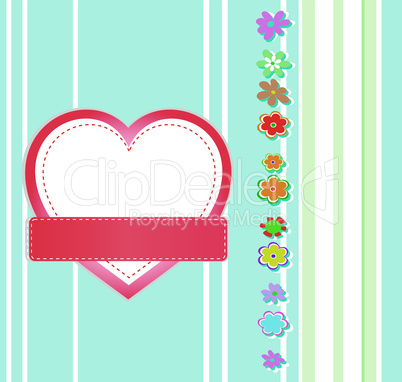 Valentines Day grunge background with Heart and flowers, vector