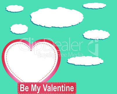 Valentine heart balloons and clouds against blue sky. vector