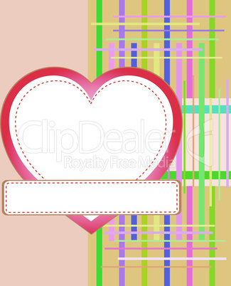 Blank card with red heart. Valentine's day holiday