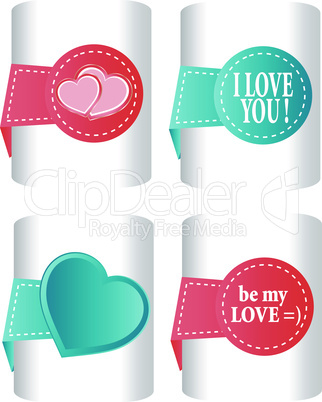 valentines and wedding stickers or tags vector set