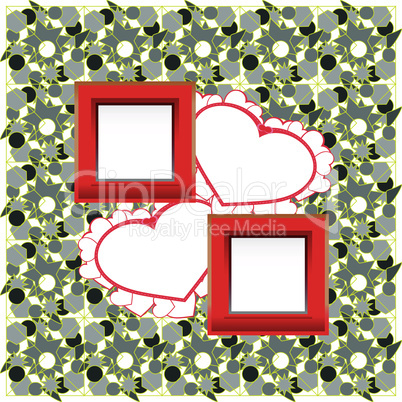 photo frames and heart on vintage background. vector
