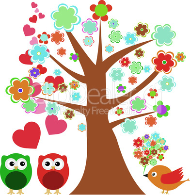 owls in love and bird with cute floral tree. vector