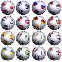Alle Flaggen der Rivalen der Europameisterschaft 2012 auf Fußbällen- Sixteen soccer balls with flags of the 2012 European Championshi