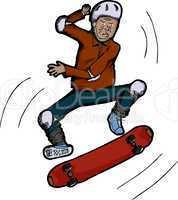 Senior Citizen Skateboarder