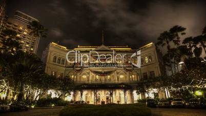 Raffles Hotel at night