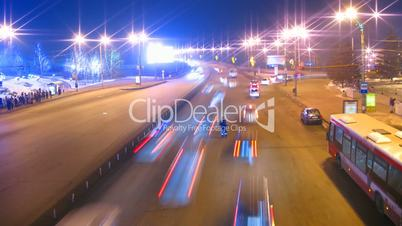 cars on night city road timelapse