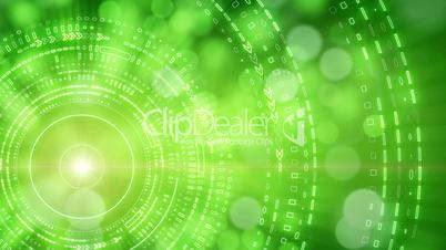 green abstract background lights and tech circles loop